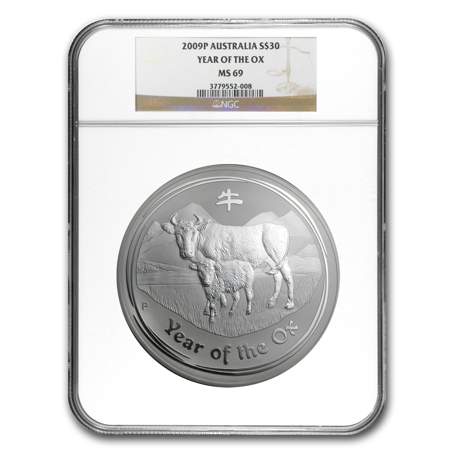 2009 1 kilo Silver Year of the Ox Coin SII MS-69 NGC