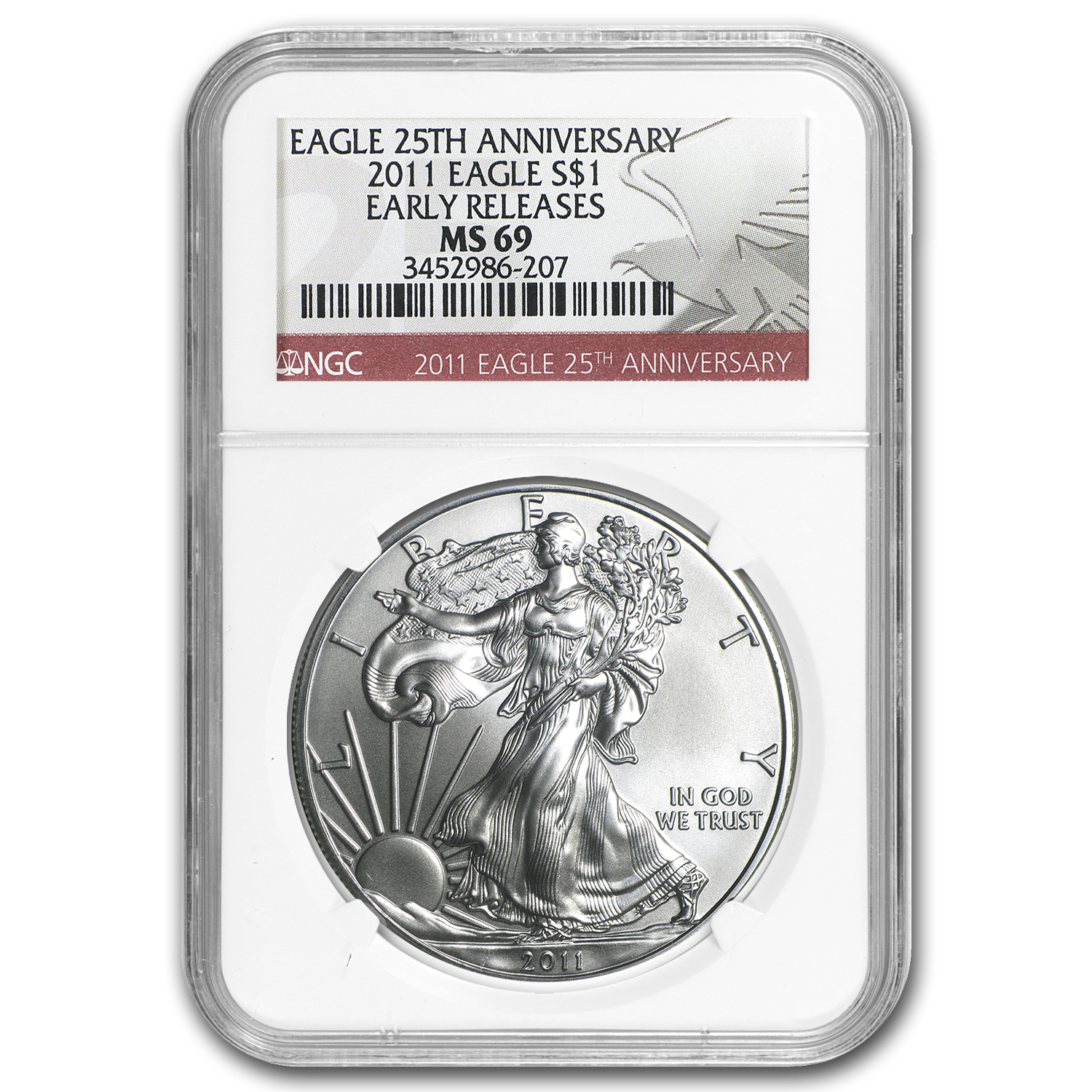 2011 Silver American Eagle MS-69 NGC (25th Anniv, Red Label, ER)