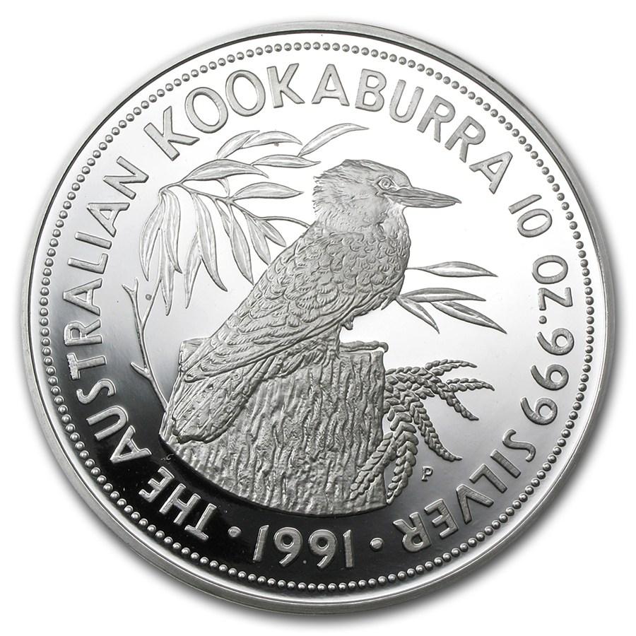 1991 Australia 10 Oz Silver Kookaburra Proof W Box Amp Coa