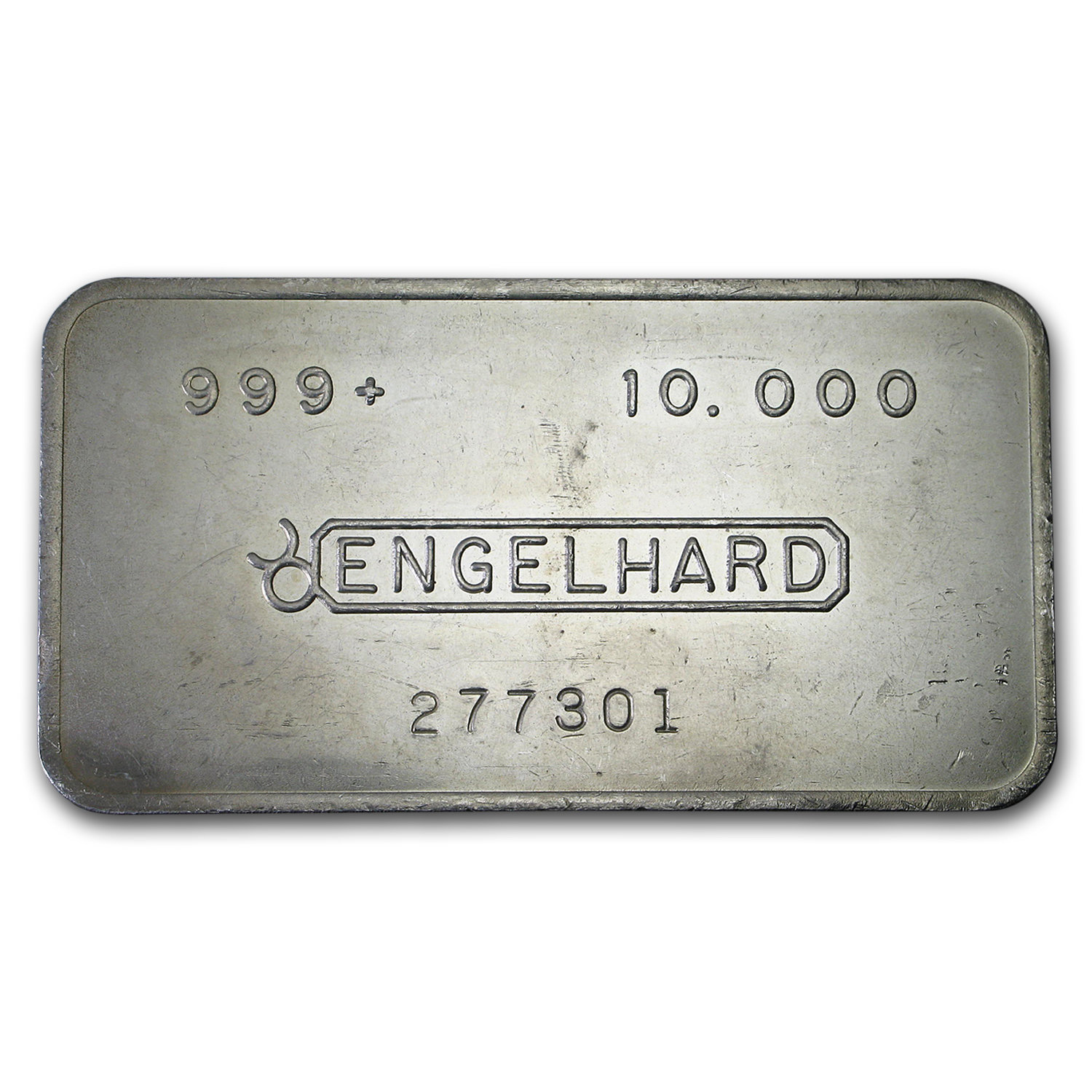10 oz Silver Bar - Engelhard (Wide, Pressed, Bull Logo)