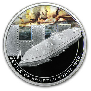 2010 1 oz Proof Silver Battle of Hampton Coin - Naval Battles