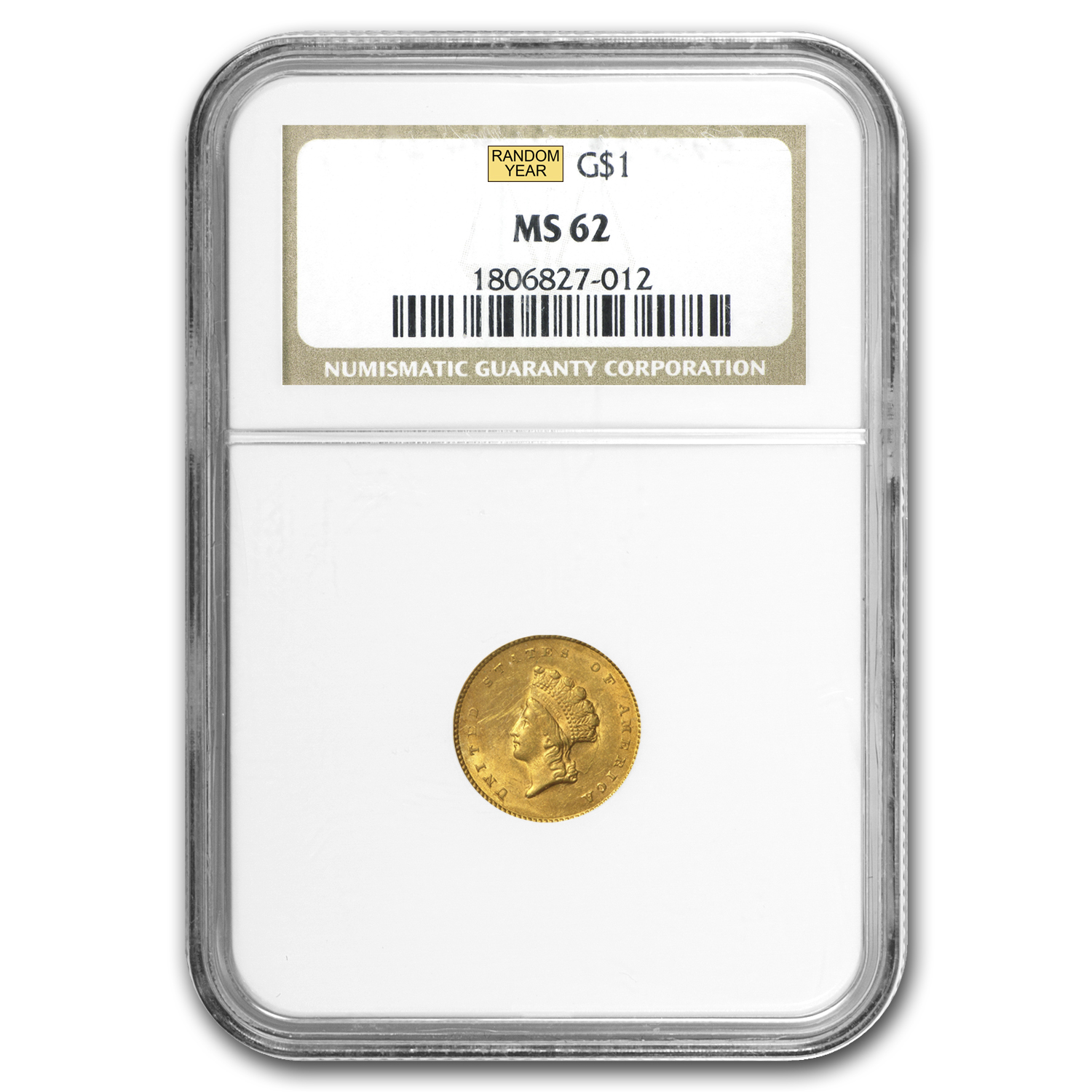 $1 Indian Head Gold Type 2 MS-62 NGC/PCGS
