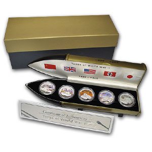 2008 5 Coin 4.5 oz Silver Set-Liberia Tanks of World War II Proof