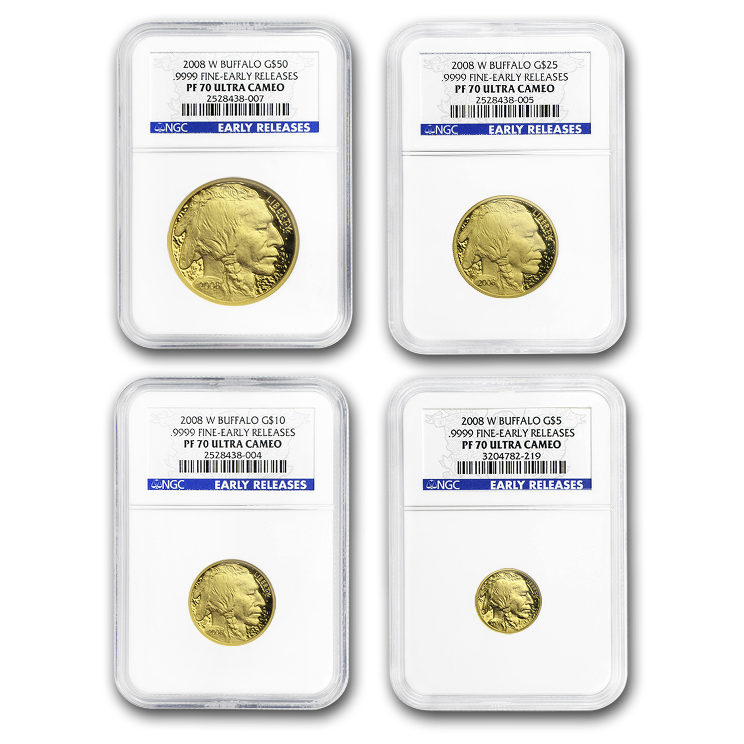 2008-W 4-Coin Proof Gold Buffalo Set PF-70 NGC (ER, Registry Set)
