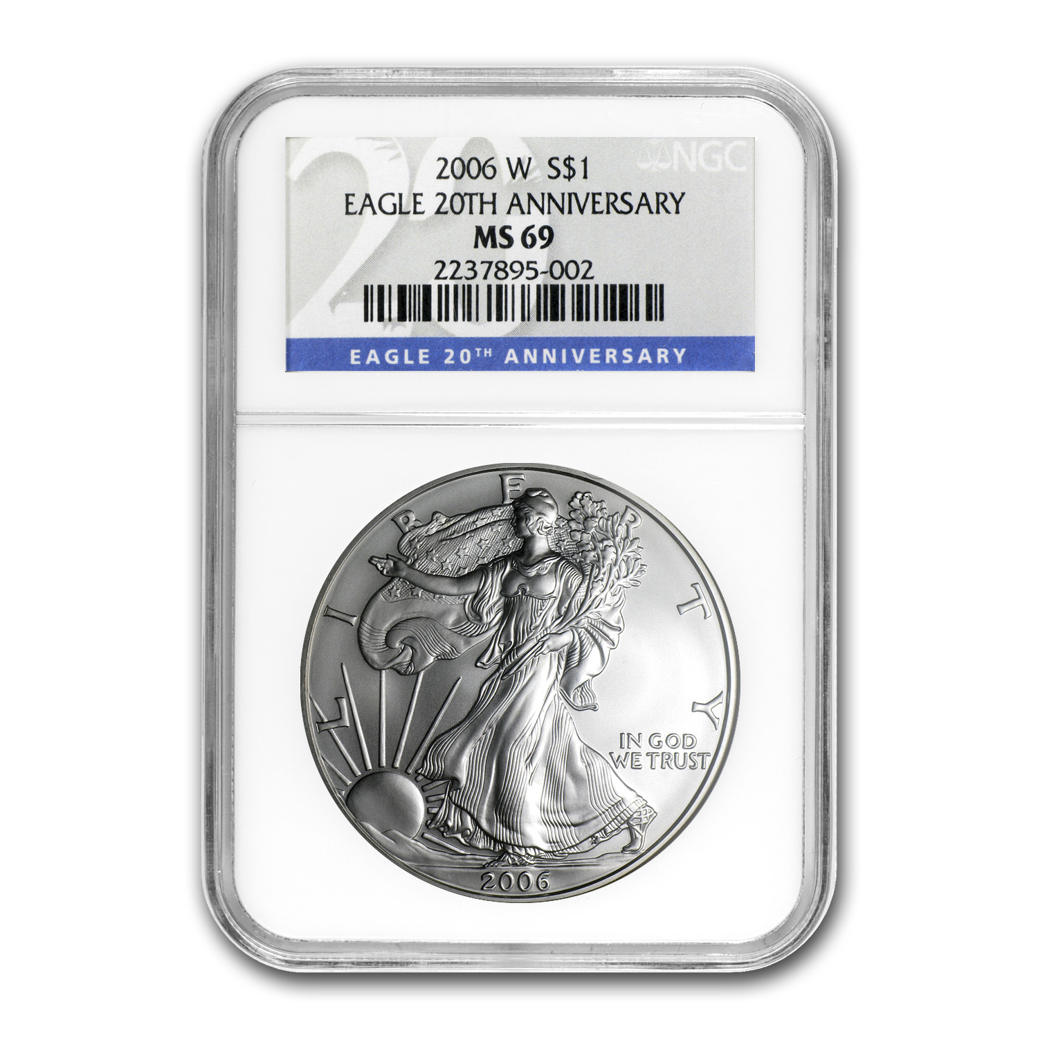 2006-W (Burnished) Silver American Eagle MS-69 NGC 20th Anniv