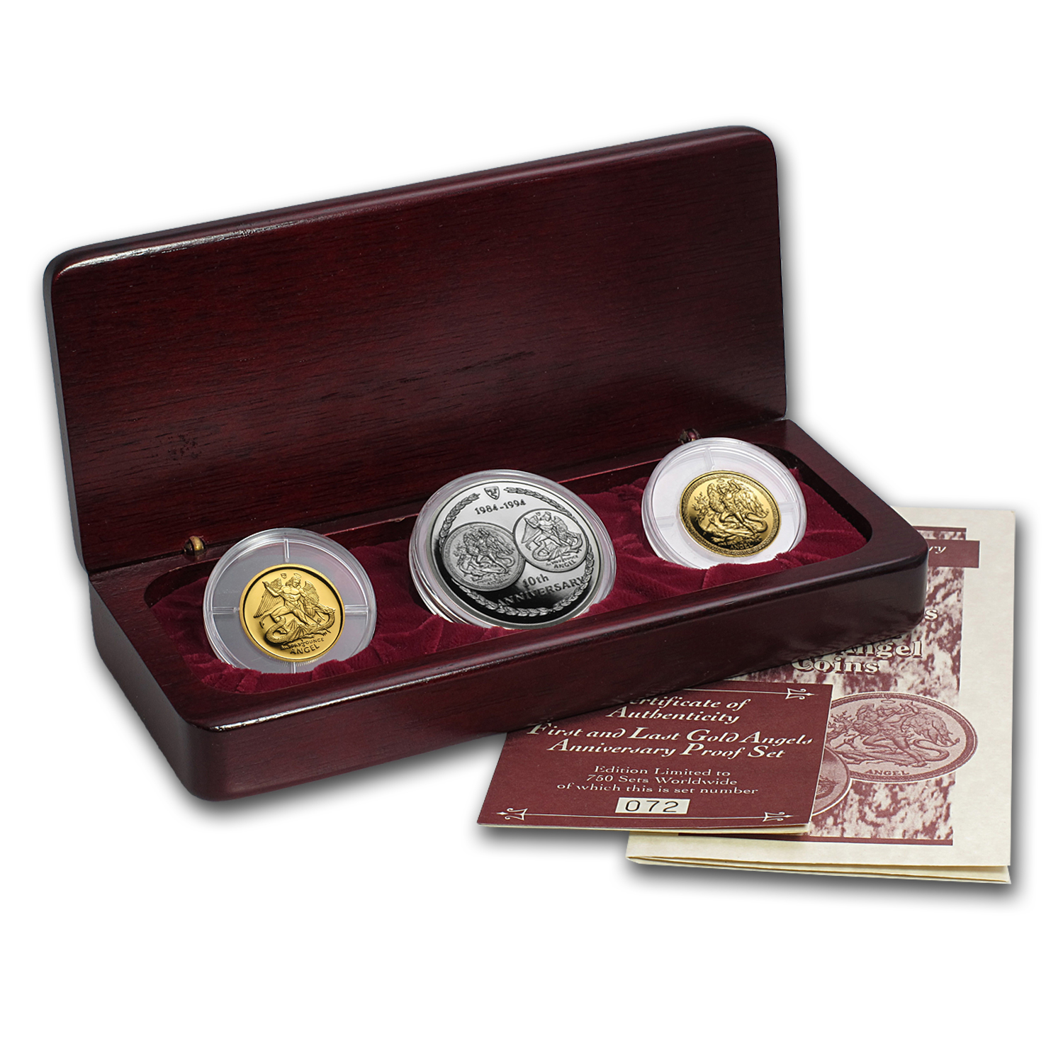1994 Isle of Man 3-Coin Gold/Silver 10th Anniv Angel Prf Set