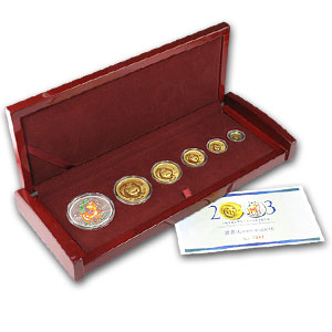 2003 China 6-Coin Gold & Silver Panda Lunar Premium Goat Set BU