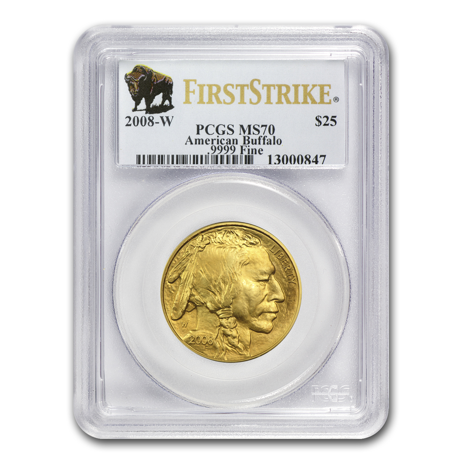 2008-W 1/2 oz Gold Buffalo MS-70 PCGS (FS, Registry Set)