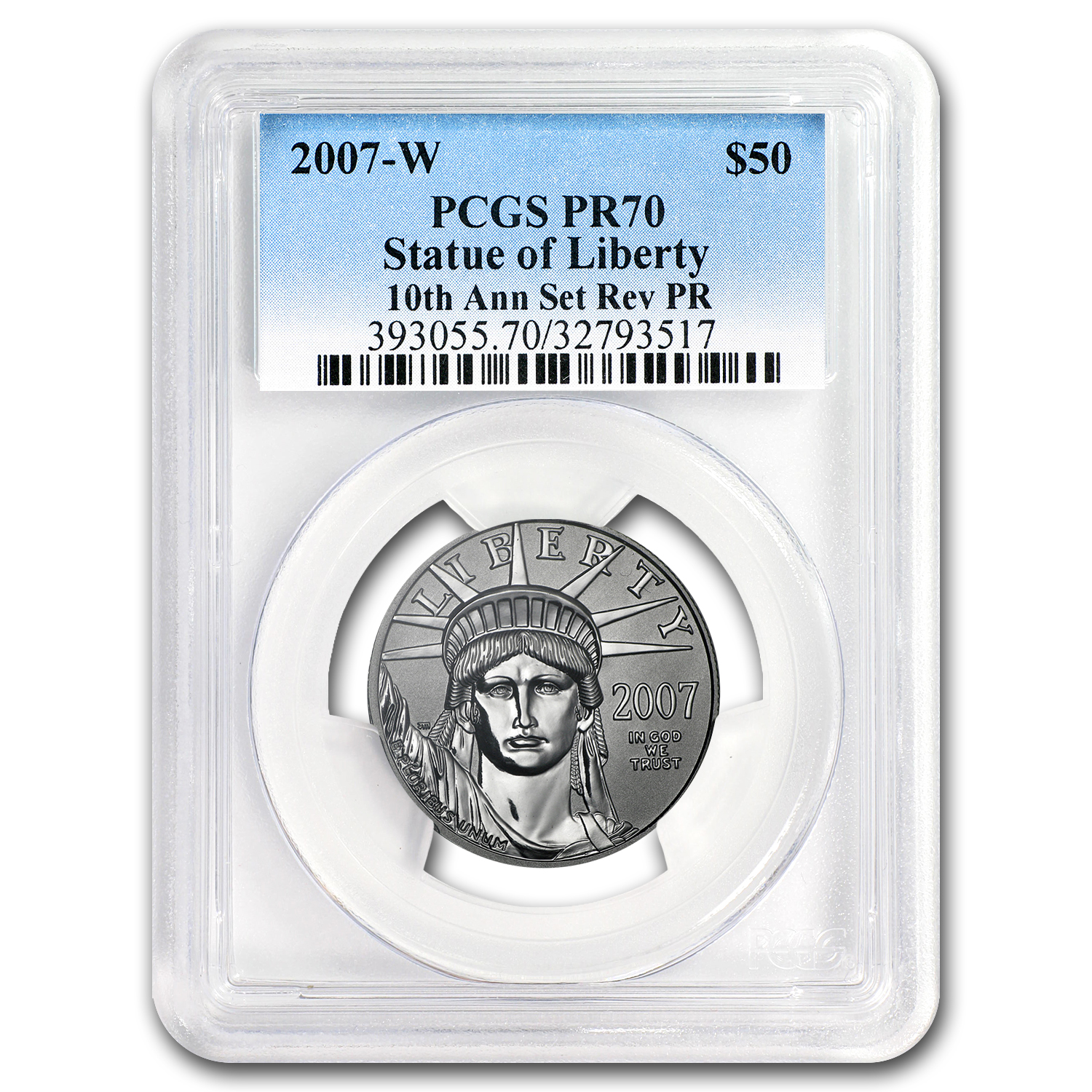 2007-W 1/2 oz Reverse Proof Platinum Eagle PR-70 PCGS