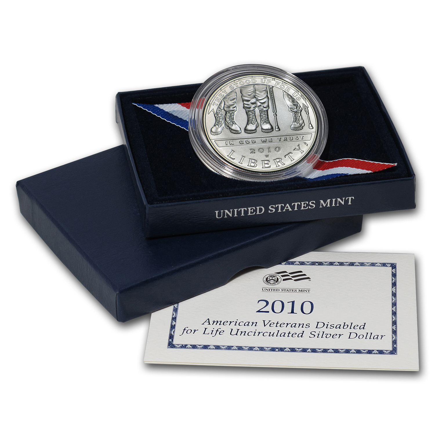 2010-W Disabled American Veterans $1 Silver Commem BU (Box/COA)