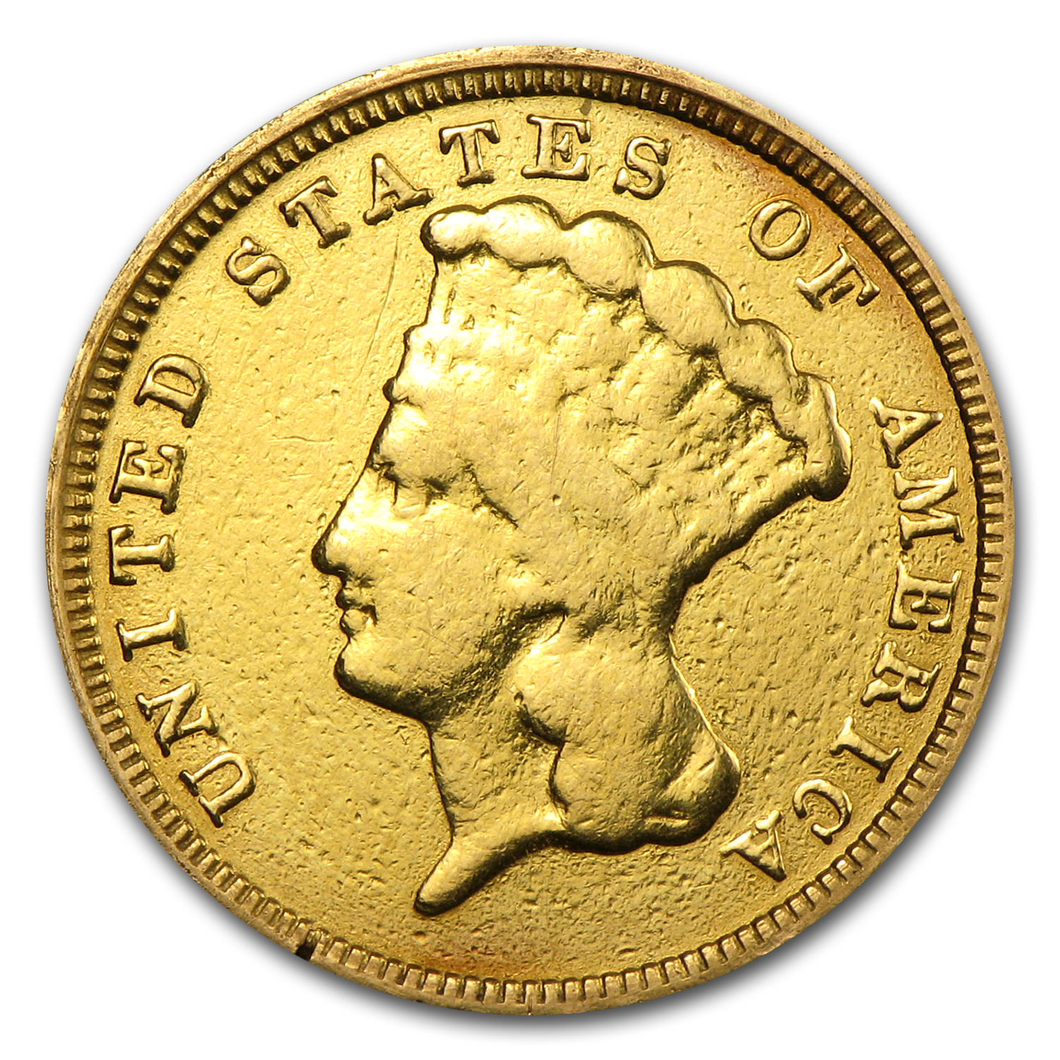 1854 $3 Gold Princess Fine Details (Heavily Worn & Polished)