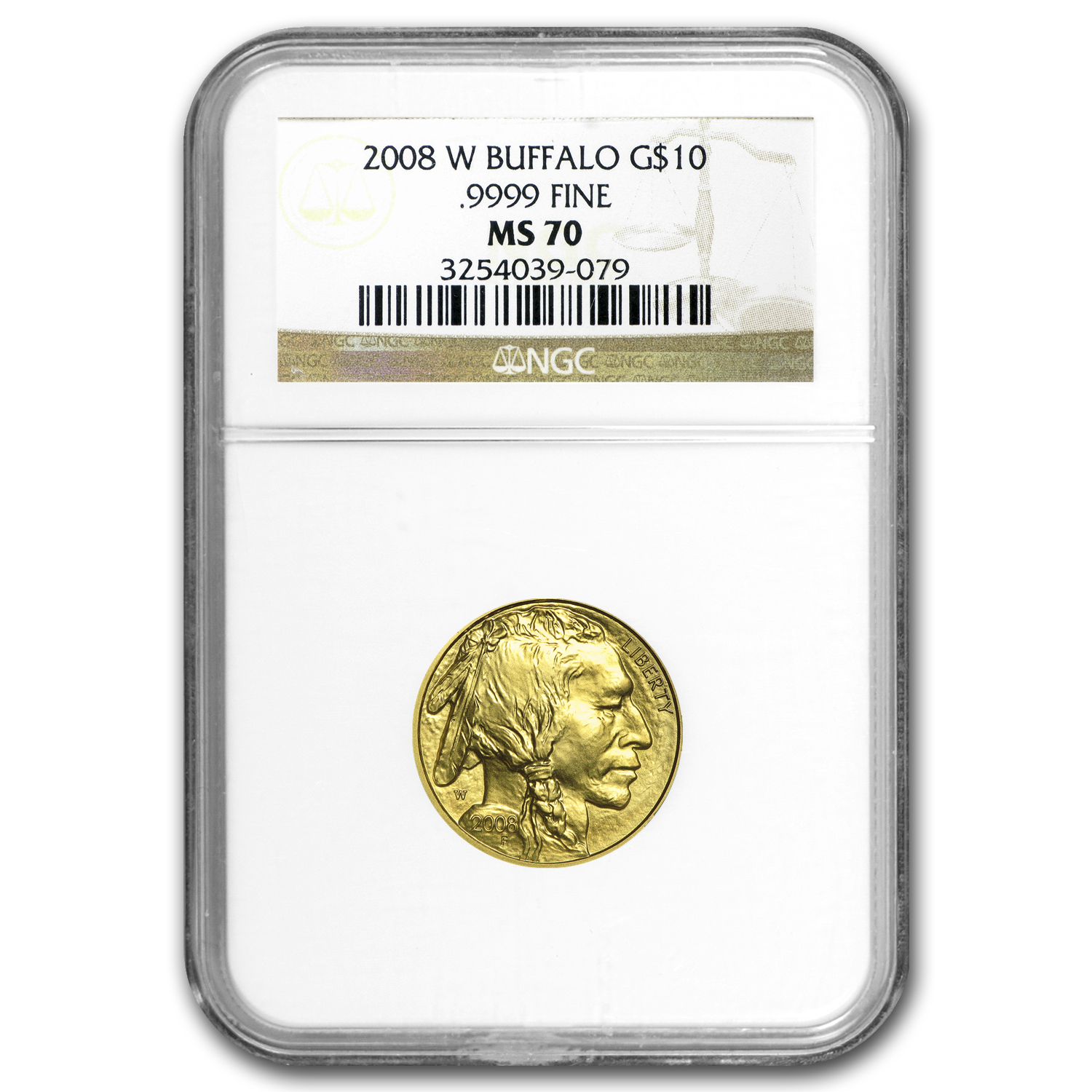 2008-W 1/4 oz .9999 Gold Buffalo MS-70 NGC