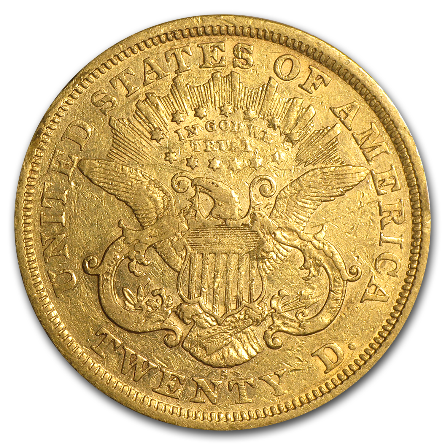 1866-1876 $20 Liberty Gold Double Eagle Type 2 (Cleaned)
