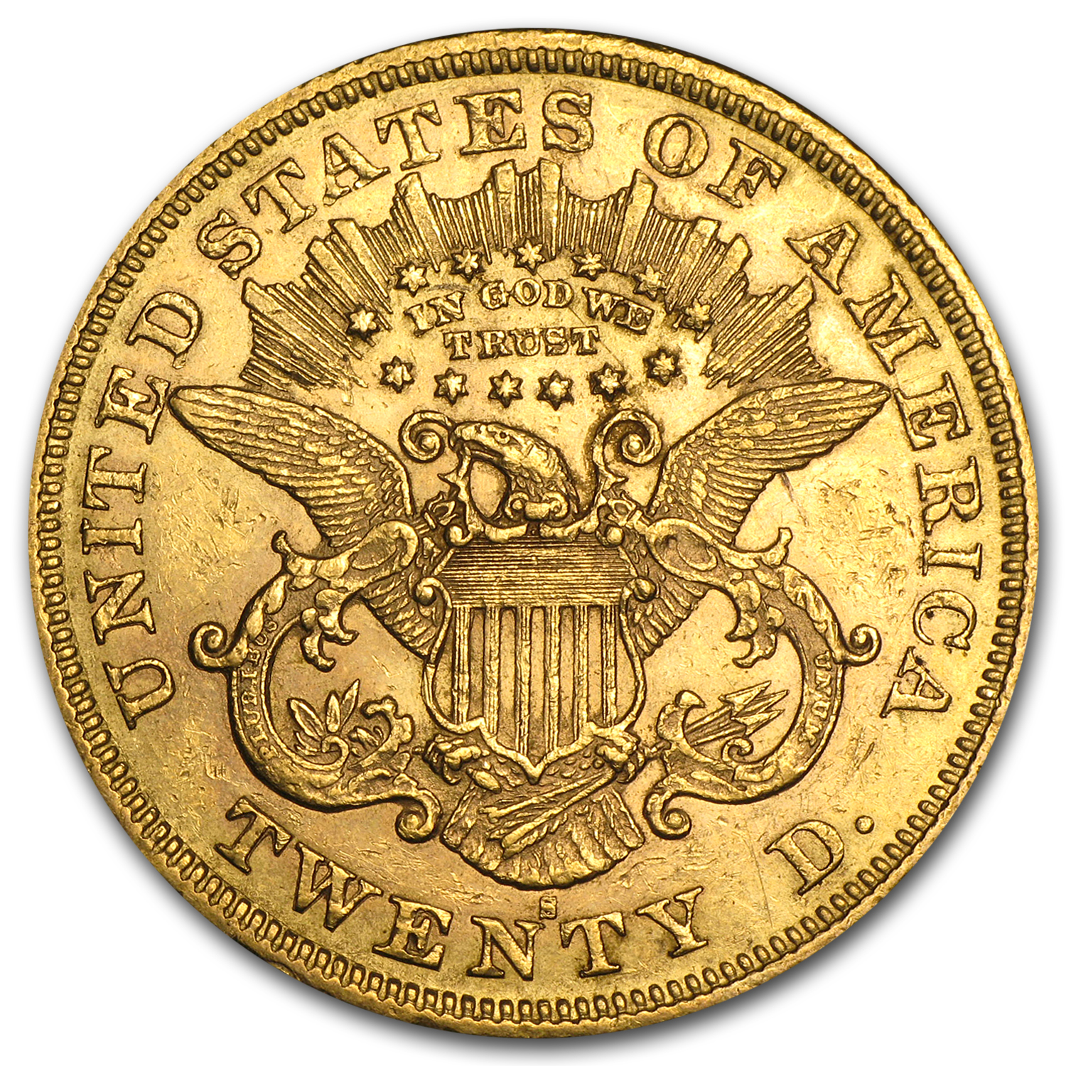 1866-1876 $20 Liberty Gold Double Eagle Type 2 AU