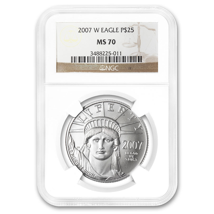 2007-W 1/4 oz Burnished Platinum American Eagle MS-70 NGC