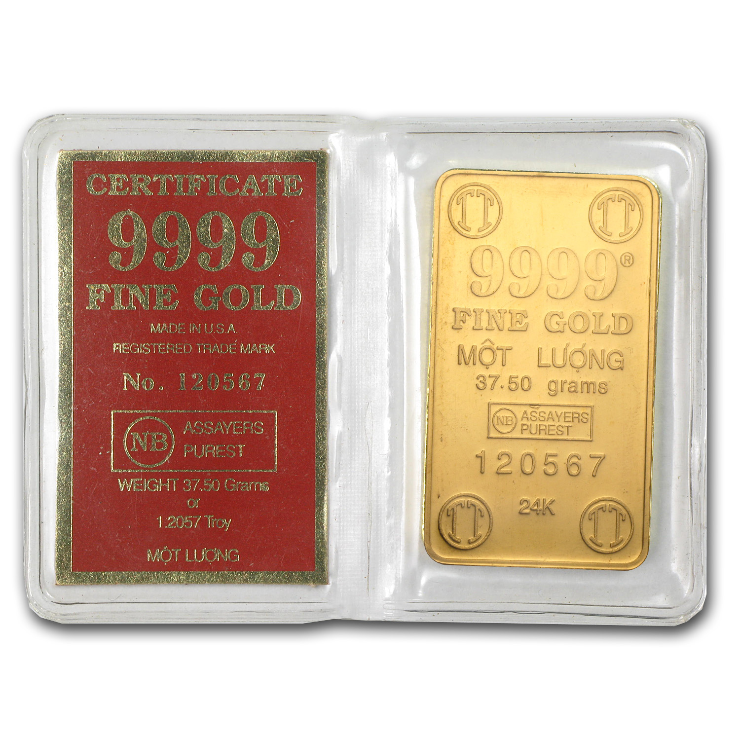 37.50 gram Gold Bar - Vietnam (Mot Luong, 1.2057 oz)