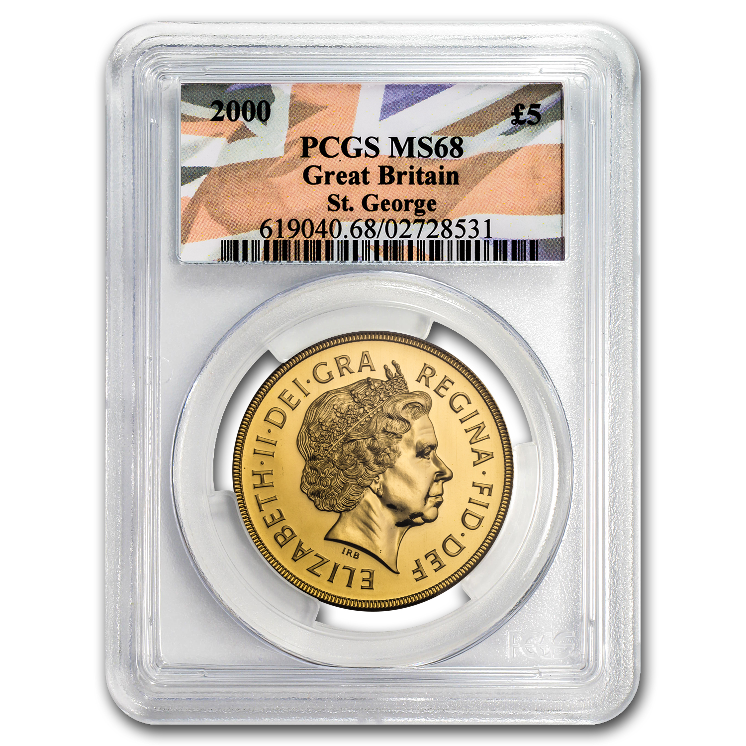 2000 Great Britain Gold £5 Sovereign MS-68 PCGS