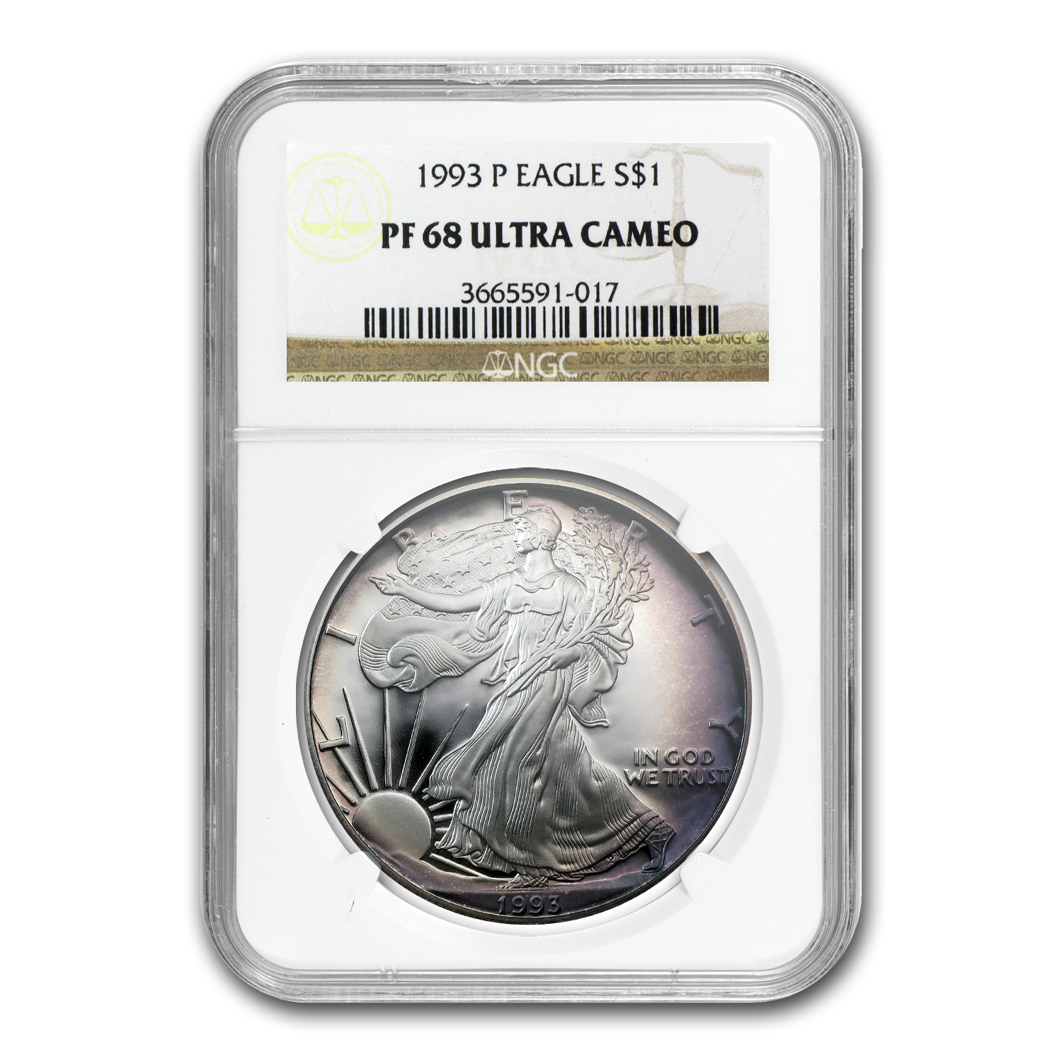 1993-P Proof Silver American Eagle PF-68 UCAM NGC (Toned)
