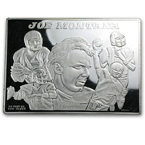3.5 oz Silver Bars - Joe Montana Collector Card