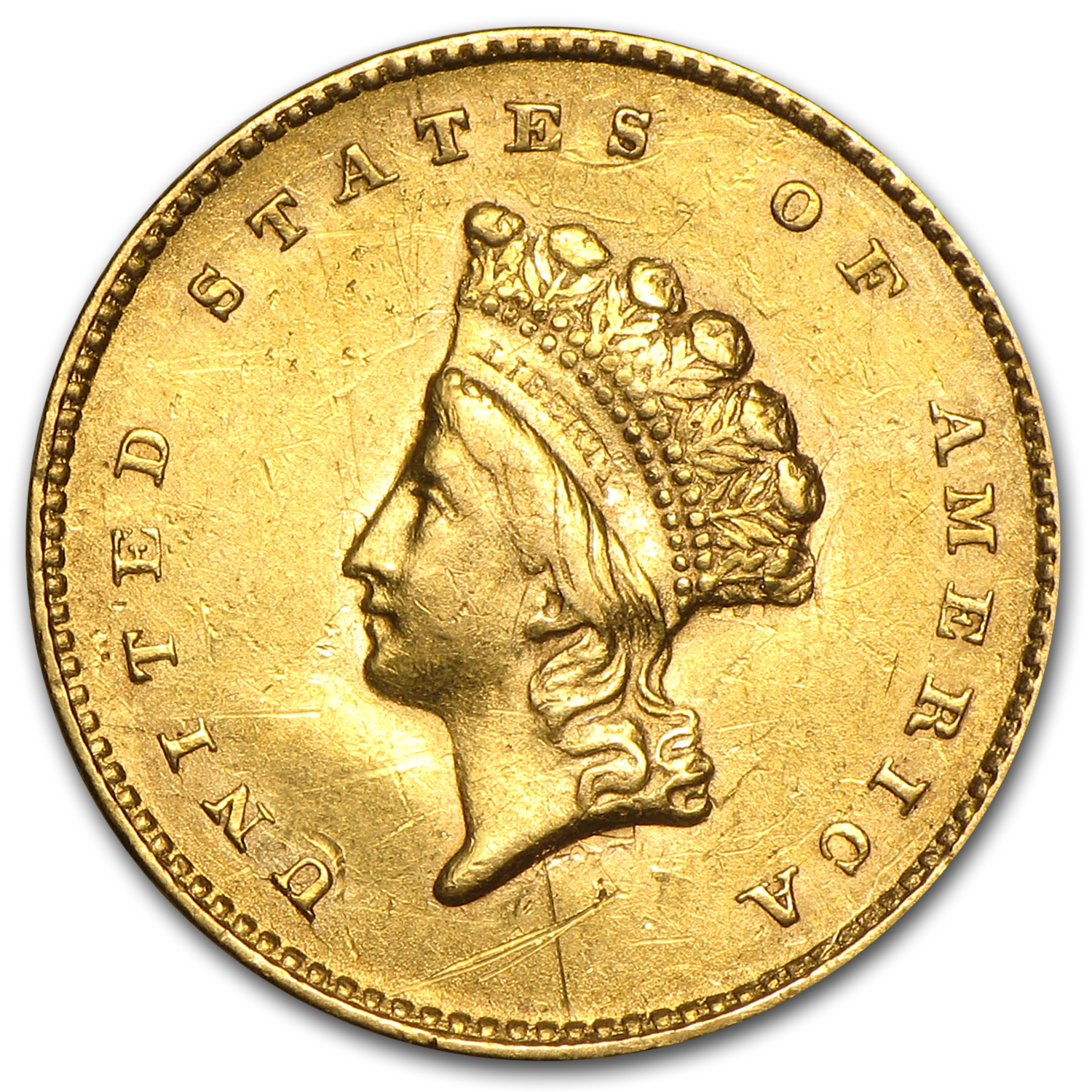 $1 Indian Head Gold Type 2 (Cleaned)