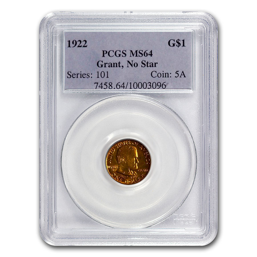 1922 $1.00 Gold Grant No Star MS-64 PCGS