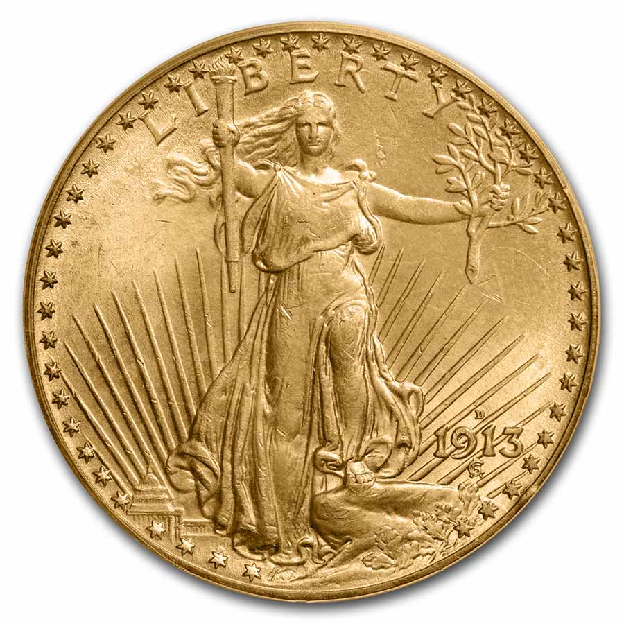 1913-D $20 St. Gaudens Gold Double Eagle MS-65 PCGS