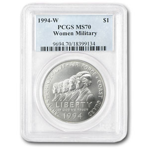 1994-W Women in Military $1 Silver Commemorative MS-70 PCGS