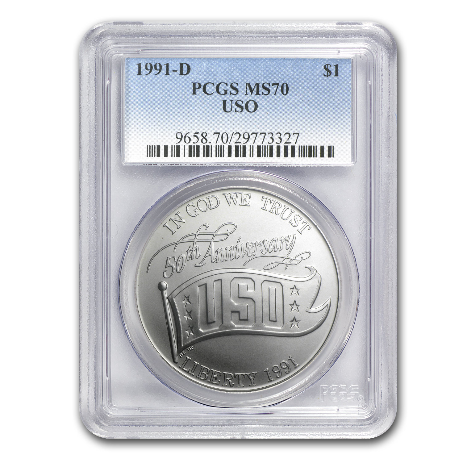 1991-D USO $1 Silver Commemorative MS-70 PCGS