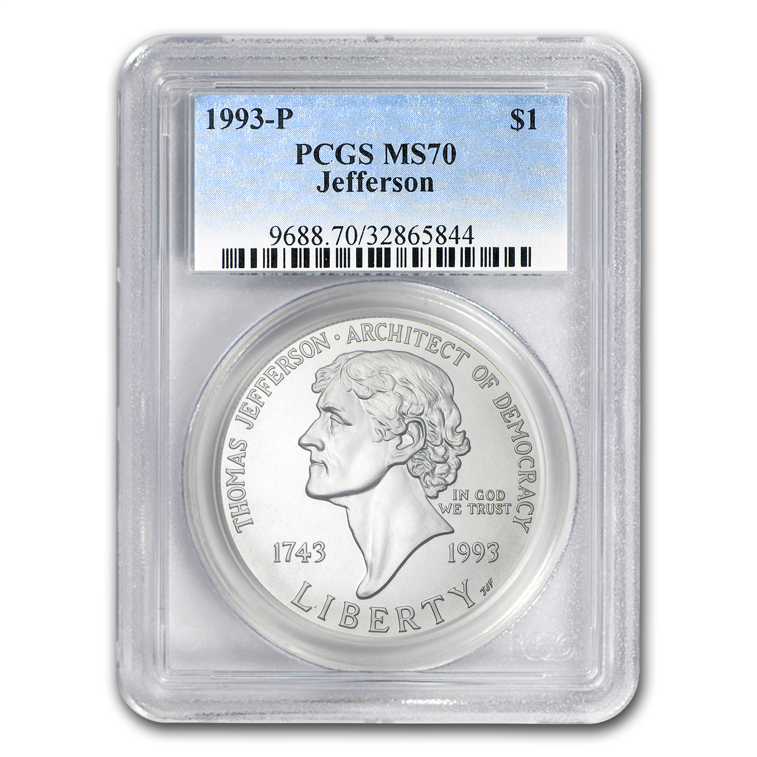 1993-P Jefferson 250th Anniv $1 Silver Commem MS-70 PCGS