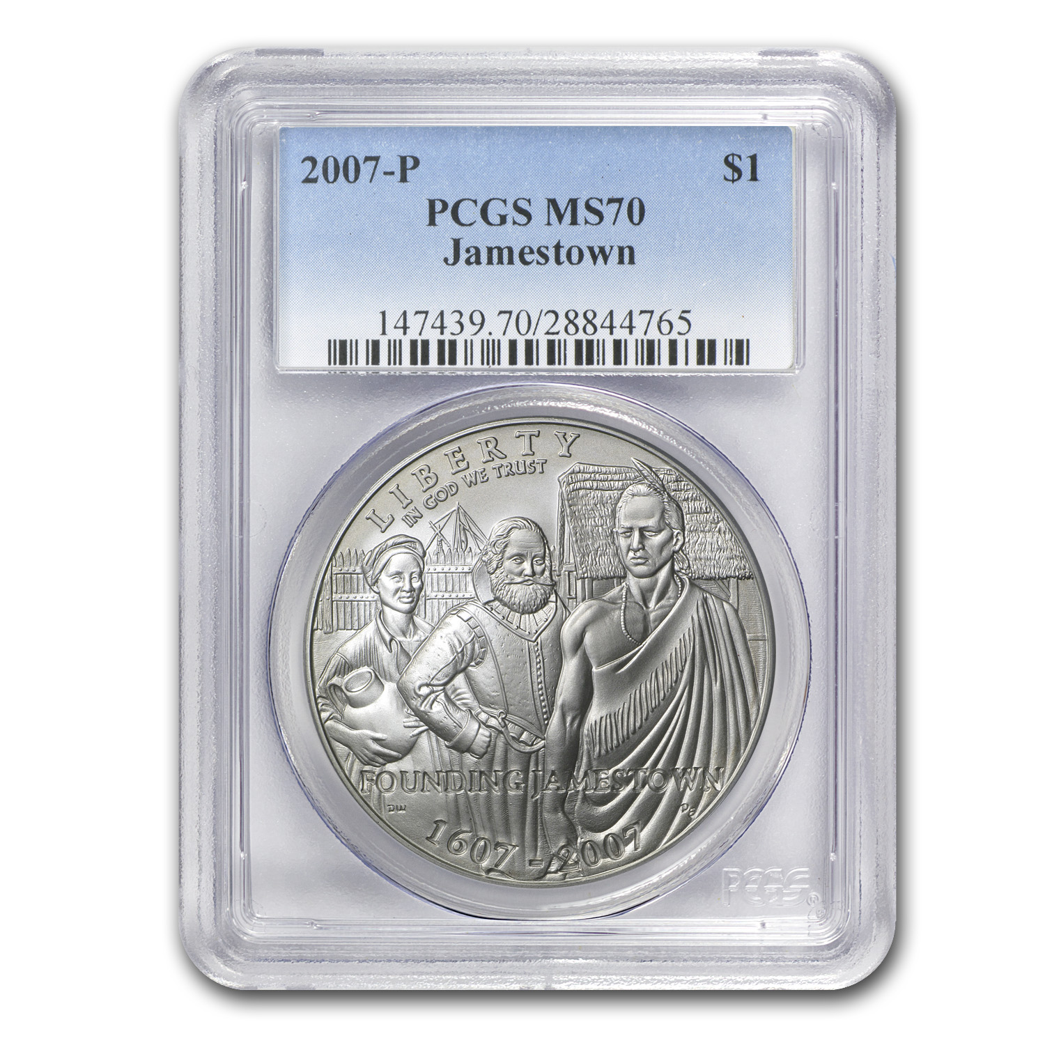 2007-P Jamestown 400th Anniv $1 Silver Commem MS-70 PCGS