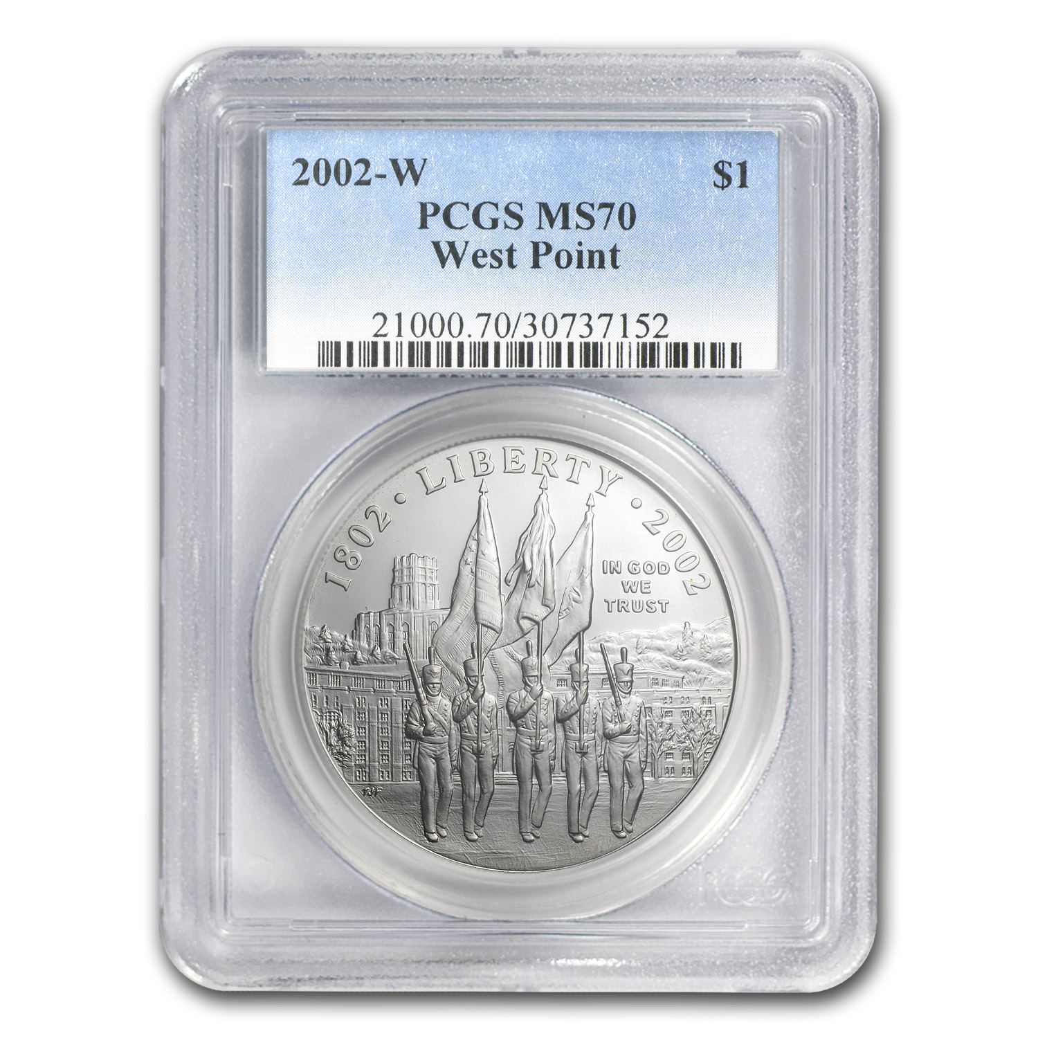 2002-W West Point Bicentennial $1 Silver Commem MS-70 PCGS