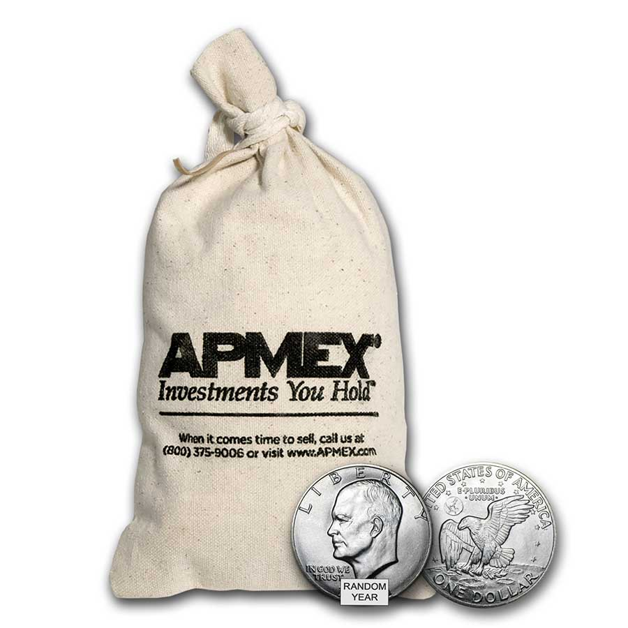 1971-1974 - 40% Silver Eisenhower Dollars 100-Coin Bag (Proof)