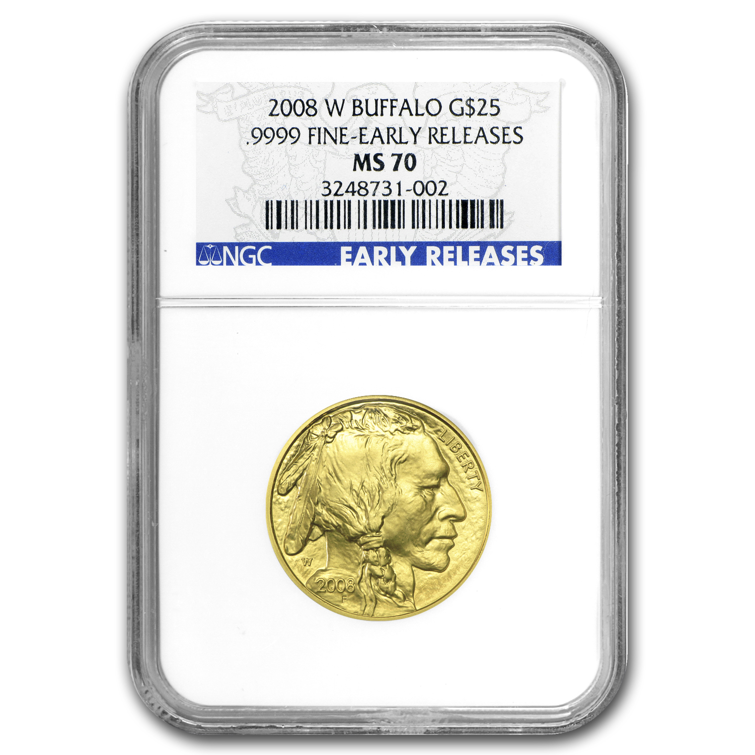 2008-W 1/2 oz Gold Buffalo MS-70 NGC (ER, Registry Set)
