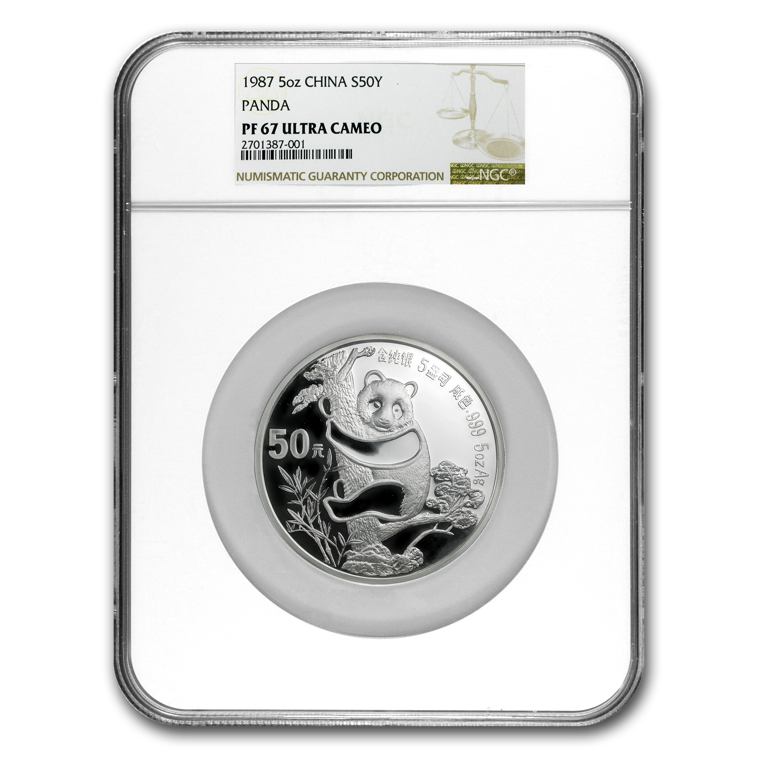1987 China 5 oz Silver Panda PF-67 NGC