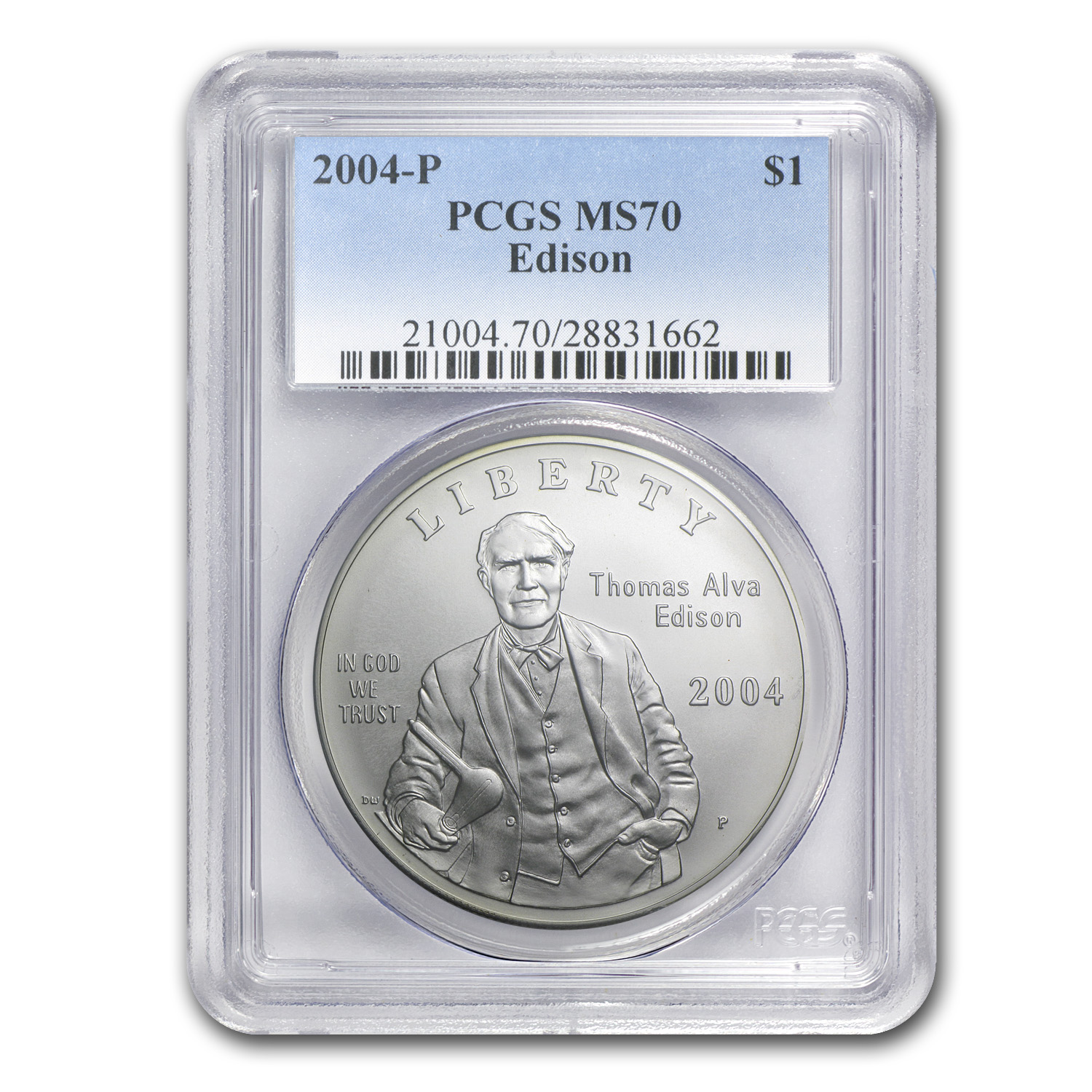 2004-P Thomas Edison $1 Silver Commem MS-70 PCGS