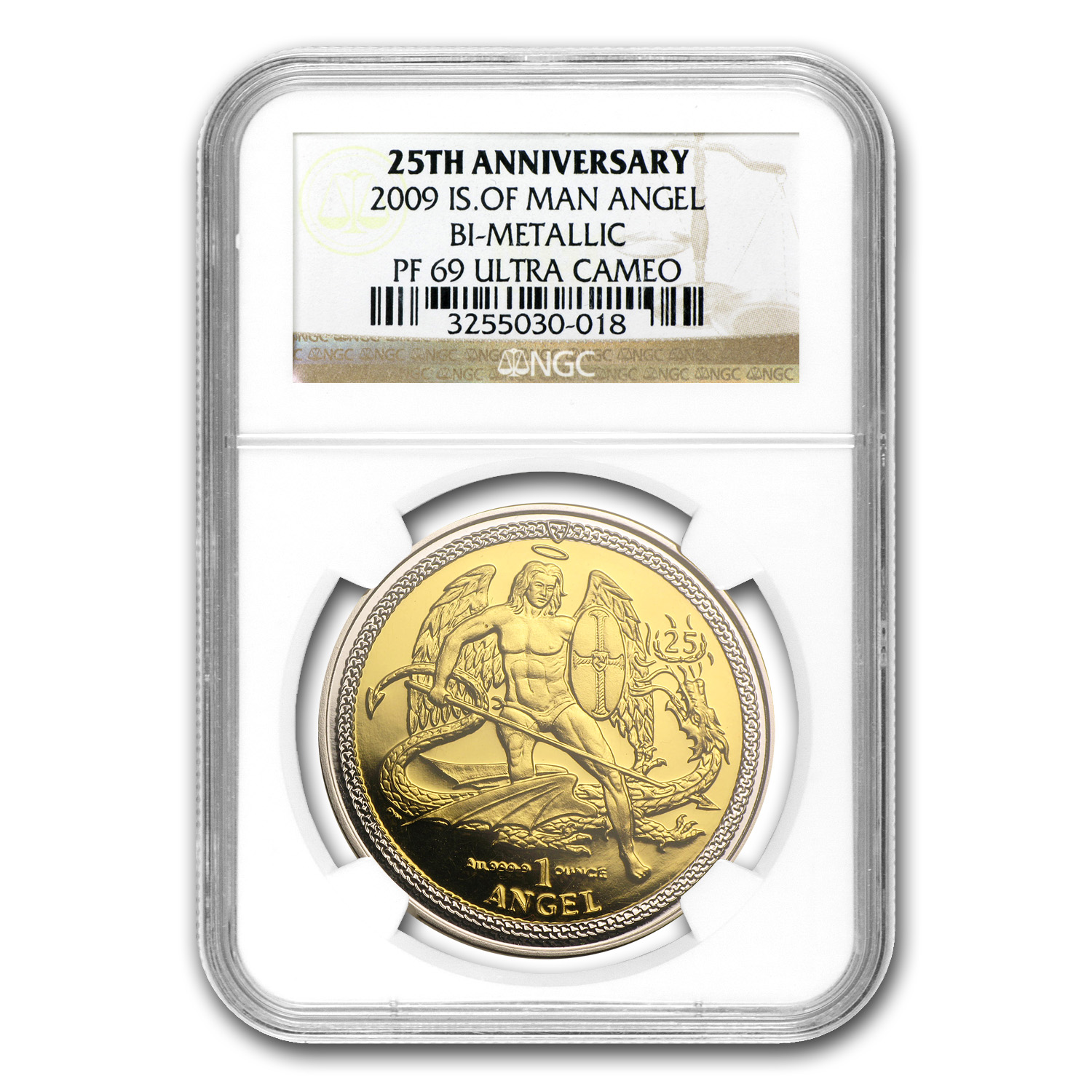 2009 Isle of Man Bi-Metallic Angel PF-69 NGC (25th Anniv)