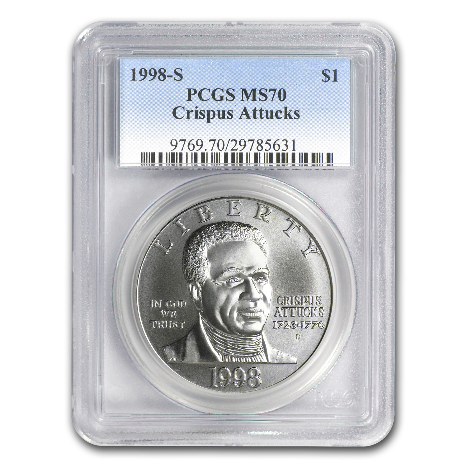 1998-S Black Patriots $1 Silver Commem MS-70 PCGS