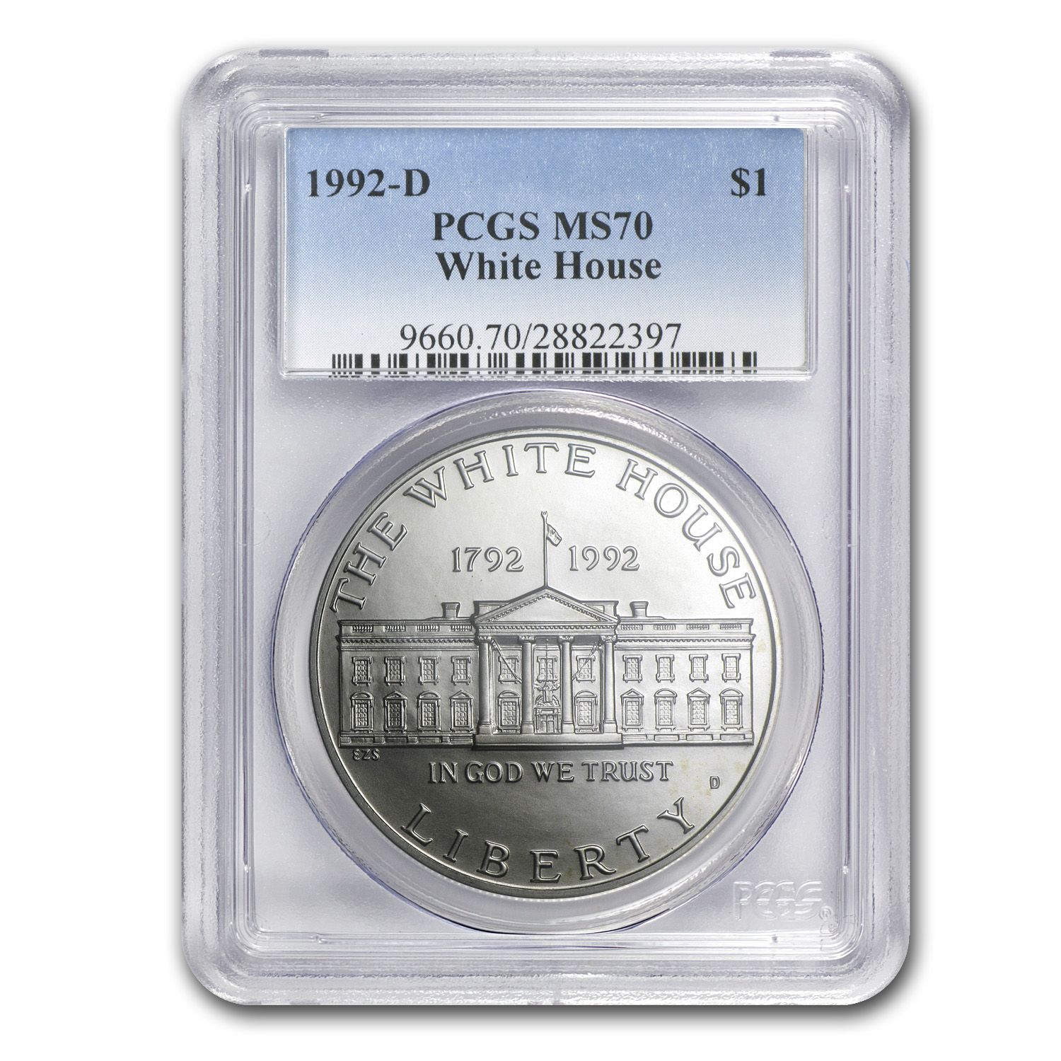 1992-D White House $1 Silver Commemorative MS-70 PCGS