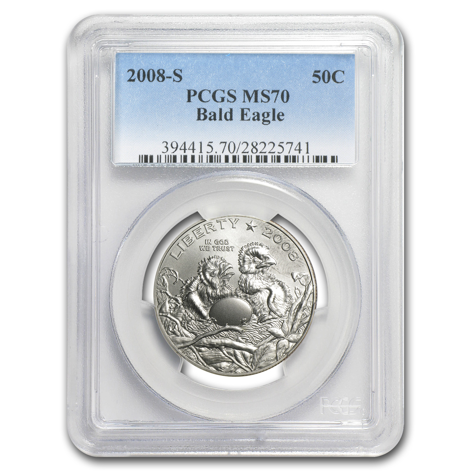 2008-S Bald Eagle 1/2 Dollar Clad Commem MS-70 PCGS