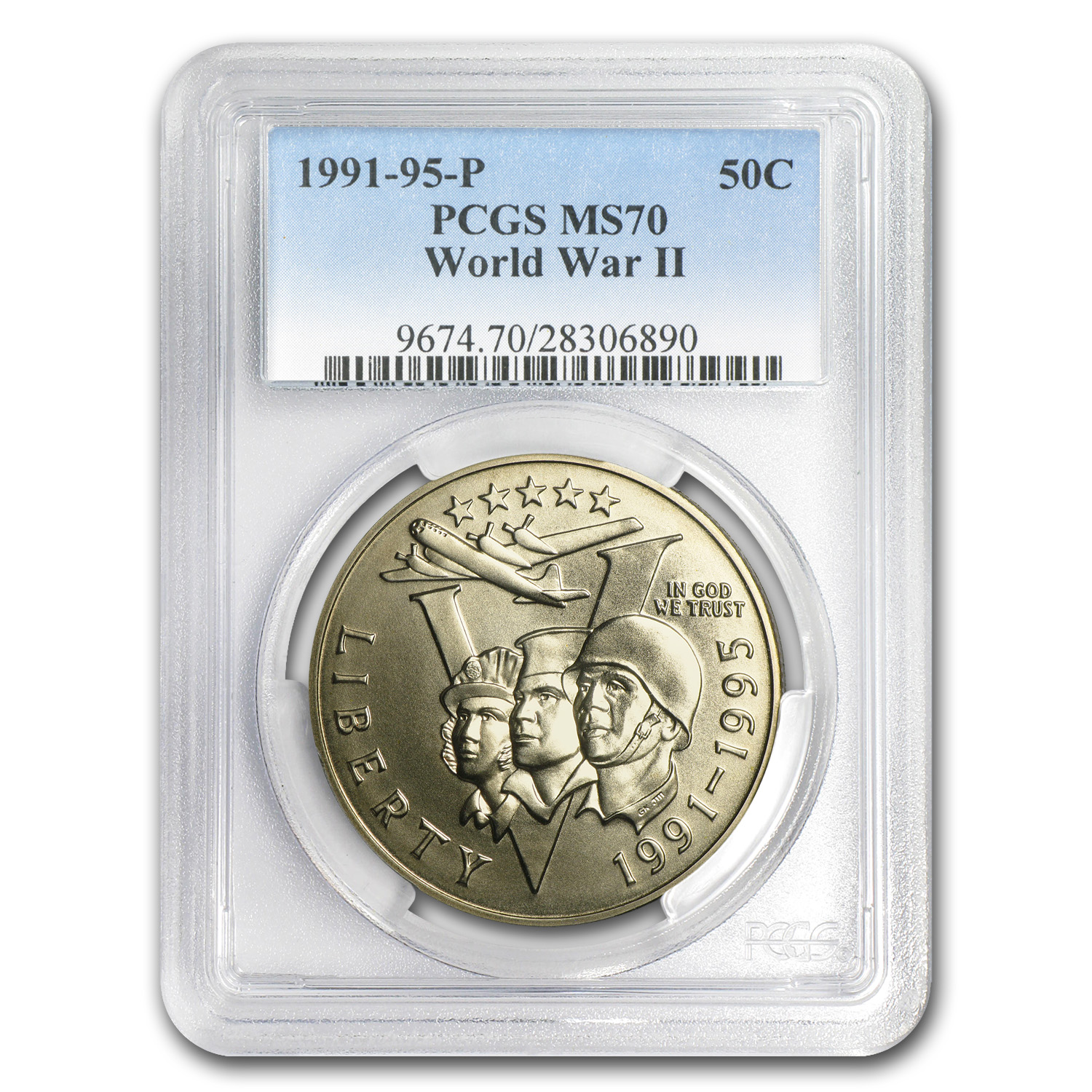 1993-P World War II Half Dollar Clad Commemorative MS-70 PCGS