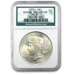 1923 Peace Dollar Ms 67 Ngc Binion Collection Peace