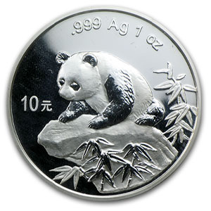 1999 China 1 oz Silver Panda Large Date Serif 1 (Sealed)
