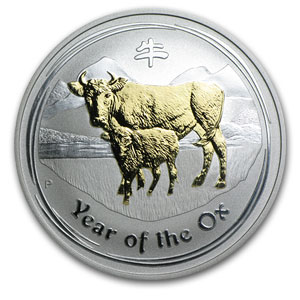 2009 1 oz Gilded Silver Year of the Ox Coin (SII) (In Capsule)