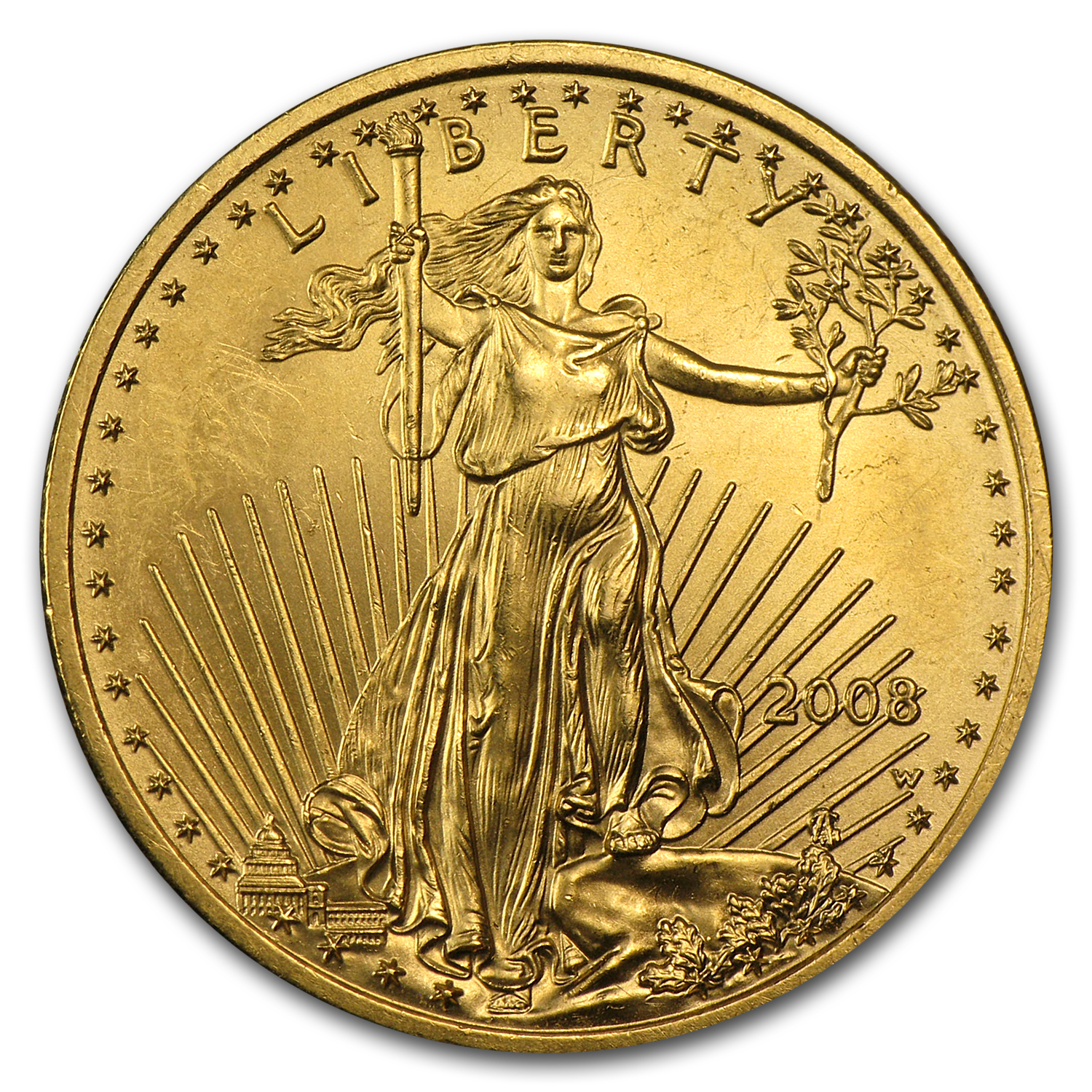 2008-W 1/4 oz Burnished Gold American Eagle (Damaged)