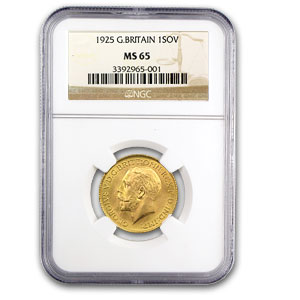 Great Britain 1925 Sovereign Gold George V NGC MS-64
