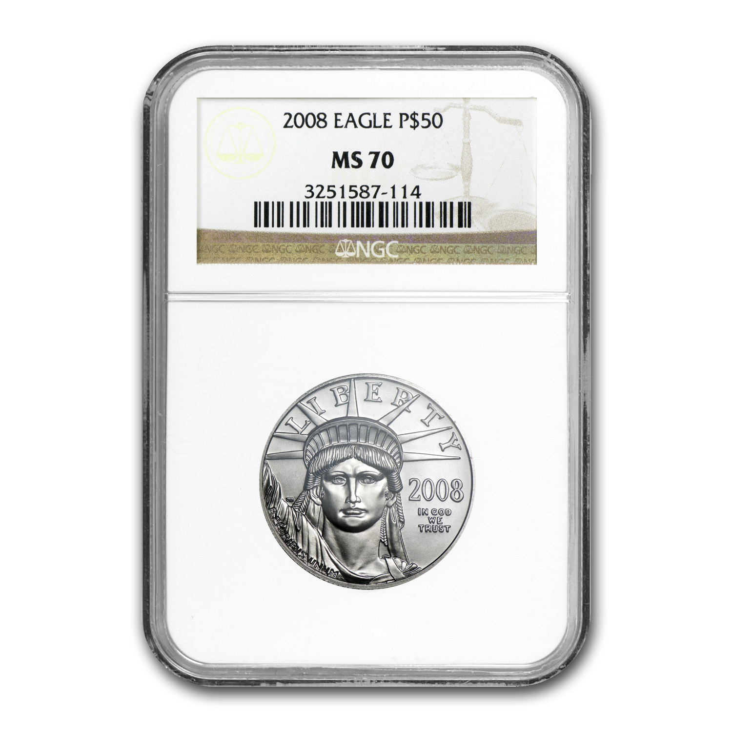 2008 1/2 oz Platinum American Eagle MS-70 NGC