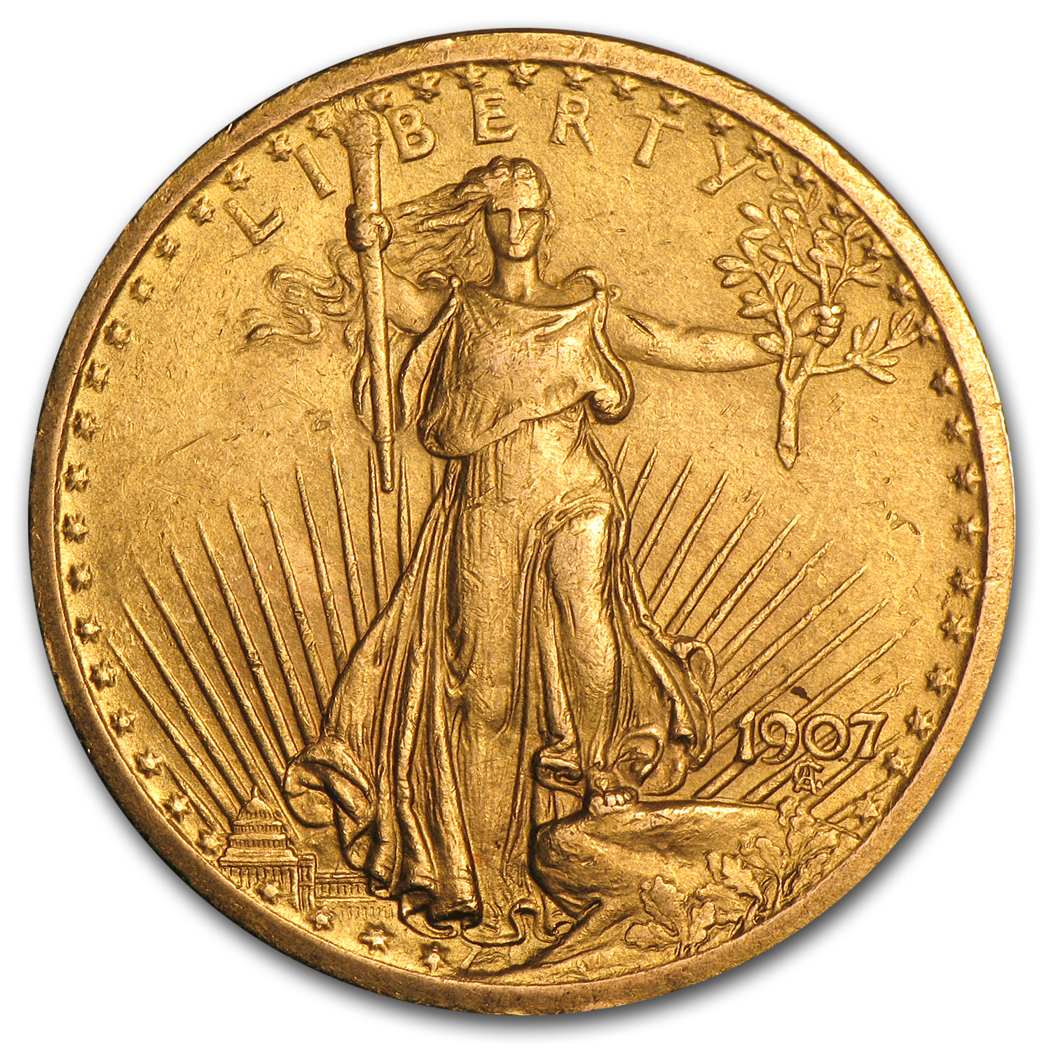 1907 $20 St. Gaudens Gold Double Eagle (Cleaned)
