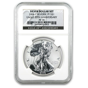 2006 3-Coin Rev Proof Tri Metal Eagle Set PF-70 NGC (Anniv)