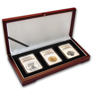 3-Coin Tri Metal Reverse Proof Eagle Set PF-70 NGC (Anniv)