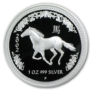 2002 Australia 1 oz Silver Year of the Horse Proof (No COA)